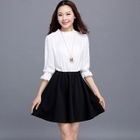Elbow-Sleeve Contrast-Color Dress 1596