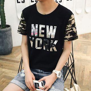 Image of Camouflage Panel Letter Short-Sleeve T-shirt
