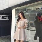 Puff-Sleeve Tie-Waist Mini Dress 1596