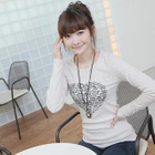 Long-Sleeved Heart Appliqu  T-Shirt 1596