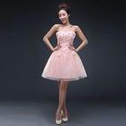 Embellished Applique Strapless Mini Prom Dress 1596