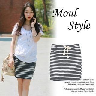Buy MOUL STYLE Drawstring-Waist Striped Skirt 1022821108