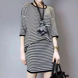 Set: 3/4-Sleeve Stripe Top + Skirt