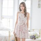 Sleeveless Floral Tie-Waist Chiffon Dress 1596