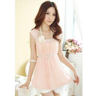 Buy Tokyo Fashion Square-Collar Lace-Trim Babydoll Top 1022763762