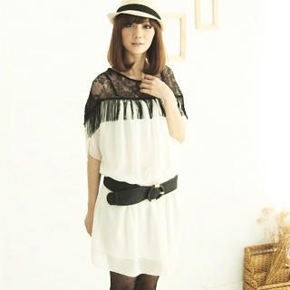 Buy CatWorld Lace-Detail Fringed Chiffon Dress 1022763962