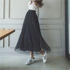 Band-Waist Long Tulle Skirt 1596