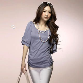 Buy Tokyo Fashion Rhinestone Flutter-Sleeve Ruched Top 1022441874