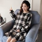 Maternity Long-Sleeve Plaid Mini Dress 1596