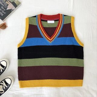 Image of Color-Block V-Neck Color-Block Sleeveless Sweater Blue - One Size