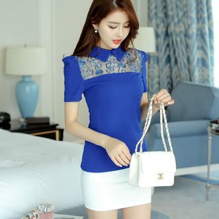 Short-Sleeve Lace Panel Knit Top 1049952160
