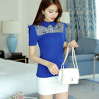 Short-Sleeve Lace Panel Knit Top 1596