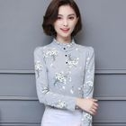 Long-Sleeve Floral Blouse 1596