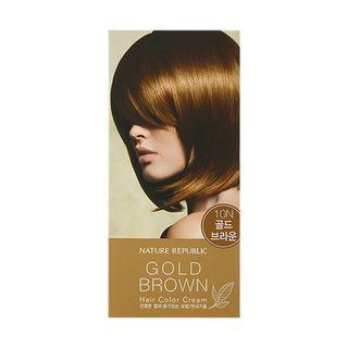 Nature Republic - Hair & Nature Hair Color Cream (#10N Gold Brown): Hairdye 60g + Oxidizing Agent 60g + Hair Treatment 9g 3pcs 1064556045