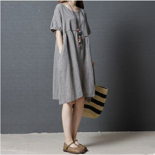 Image of Elbow-Sleeve Gingham Babydoll Dress