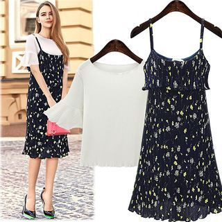 Set: Short-Sleeve T-Shirt + Strappy Floral A-line Midi Dress 1059929552