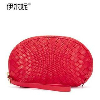 Genuine Leather Woven Cosmetic Pouch