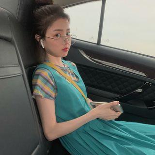 Image of Short-Sleeve Plaid Top / Maxi Pinafore Dress