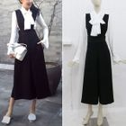 Long-Sleeve Bow-Accent Blouse / Wide-Leg Jumper Pants 1596