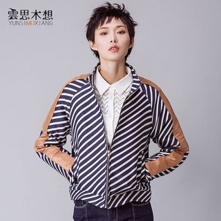 Faux Leather Panel Striped Zip Jacket 1055459043