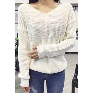 V-Neck Drop-Shoulder Knit Top 1053869725