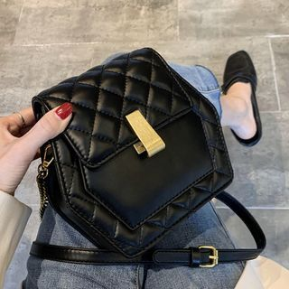 Image of Quilted Faux Leather Hexagon Crossbody Bag