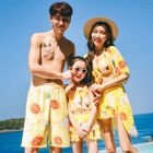 Family Matching Set: Floral Print Bikini Top + Swim Skirt / Swim Dress + Bikini Top + Swim Skirt + Beach Cover-Up + Beach Shorts 1596