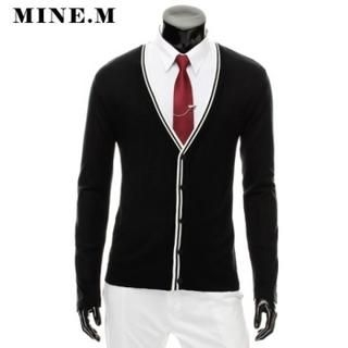 Buy MINE M HOMME Contrast-Trim V-Neck Knit Cardigan 1022078355