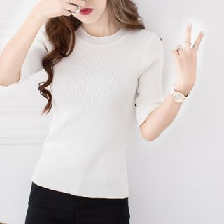 Ribbed Knit Elbow Sleeve T-Shirt 1051625041
