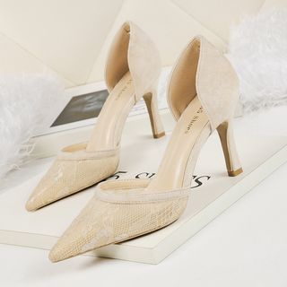 Image of Lace Pointed High Heel Pumps