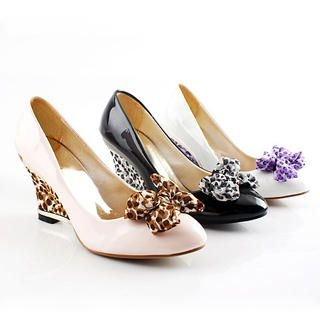 Picture of KAWO Bow Leopard Print Wedge Pumps 1022875424 (Pump Shoes, KAWO Shoes, China Shoes, Womens Shoes, Womens Pump Shoes)