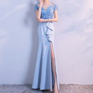 Image of Short-Sleeve Embroidered Mermaid Evening Gown