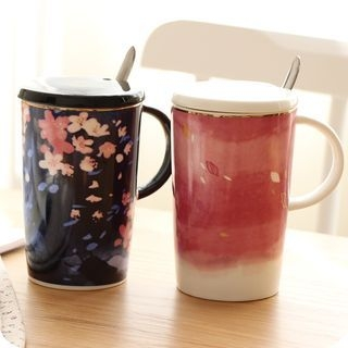 Couple Matching Ceramic Cup + Spoon 1060377788