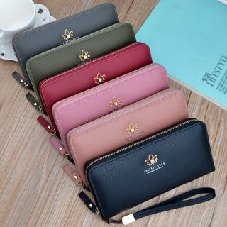 Image of Faux Leather Zip Long Wallet