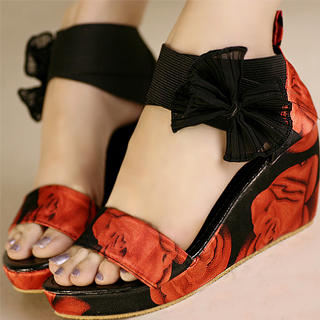 "Buy Kvoll Floral-Print ""Bow"" Platform Wedges 1023070138"