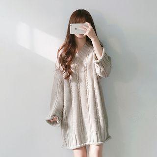 Long-Sleeve V-neck Rib Knit Dress 1061710972