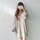 Long-Sleeve V-neck Rib Knit Dress 1596