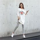 Slit-Side Lettering Mini T-Shirt Dress 1596