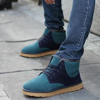 Color-Block Lace-Up Ankle Boots