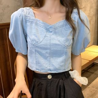 Image of Balloon-Sleeve Denim Cropped Blouse Blue - One Size