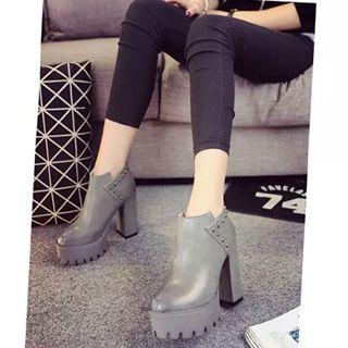 Studded Chunky Heel Platform Ankle Boots