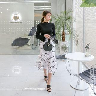 Set: Bell-Sleeve Scalloped Knit Top + Dot Midi Mermaid Skirt 1065445115