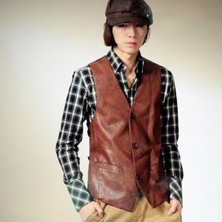 Buy deepstyle Faux Leather Vest 1022323785
