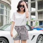 Set: Short-Sleeve Top + Striped Shorts 1596
