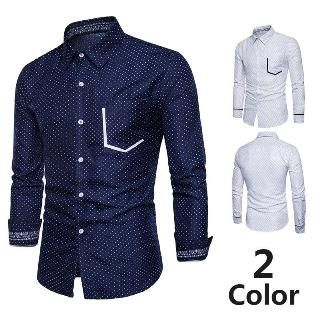 Image of Contrast Trim Dotted Slim-Fit Shirt