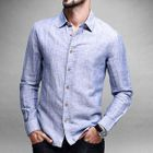 Linen-blend Long-Sleeve Shirt Blue - 2XL от YesStyle.com INT