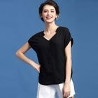 Short-Sleeve V-neck Blouse 1596