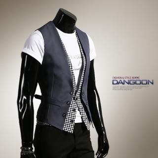 Picture of DANGOON Inset Gingham Vest 1022580919 (DANGOON, Mens Jackets, Korea)