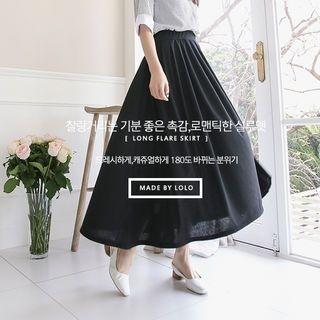 Band-Waist Shirred Long Skirt 1059608489