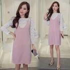 Maternity Set: Lace 3/4-Sleeve Top + Pinafore Dress 1596